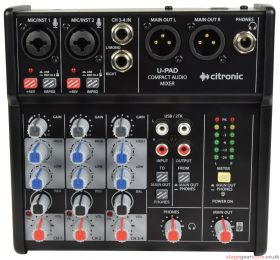 Citronic U-PAD U-PAD Compact Mixer with USB Audio Interface - 170.879UK