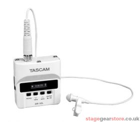 Tascam DR-10L/LW Digital Audio Recorder With Lavalier Microphone - white