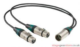 Tecpro YL972 Y-Lead 5 pin XLR to dual 3 Pin