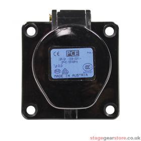 PCE 16A 230V 2P+E Black Panel Socket (313-6X)