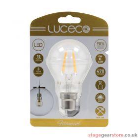 Luceco 4W LED Clear GLS Filament Lamp, B22 2700K