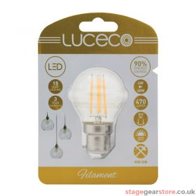 Luceco 4W LED Clear Golf Ball Filament Lamp, B22 2700K
